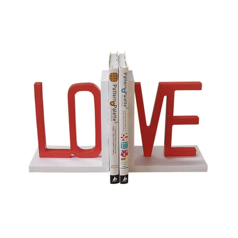 Organizador De Livros Love Branco Com Vermelho
