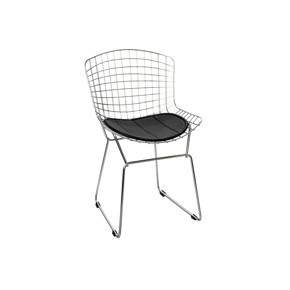 Cadeira Bertóia Com Almofada Preta