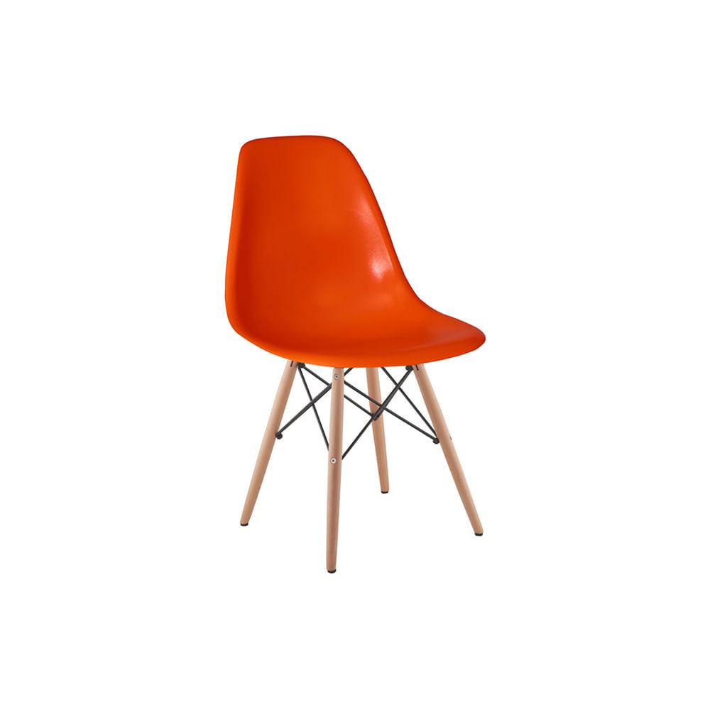 Cadeira Eames Eiffel Laranja com Pés de Madeira