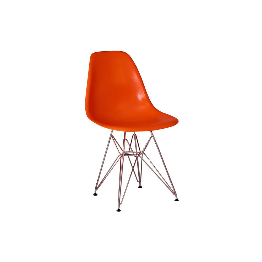 Cadeira Eames Eiffel Laranja com Pés Cromados