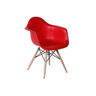 Cadeira Eiffel Com Braço Vermelha Base Madeira