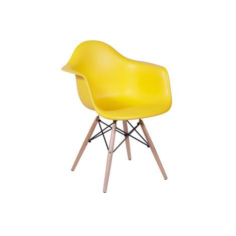 Cadeira Eiffel Com Braço Amarela Base Madeira