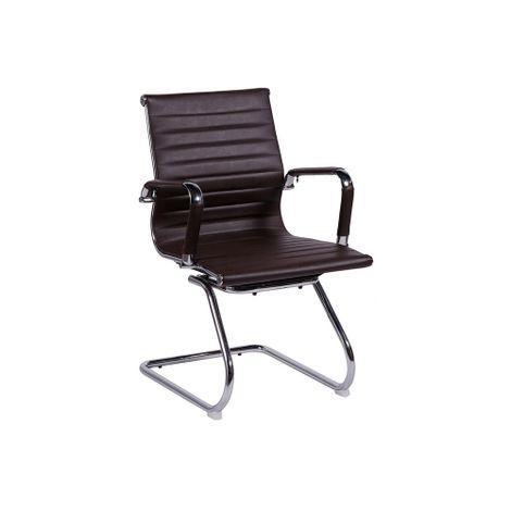Cadeira-Madrid-Fixa-Cromada-Marrom