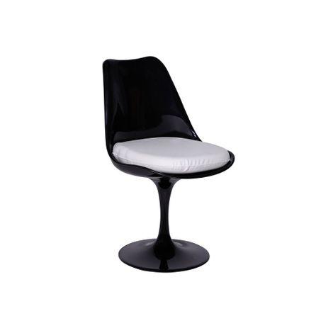 Cadeira-Saarinen-Sem-Braco-Preta-Com-Almofada-Branca