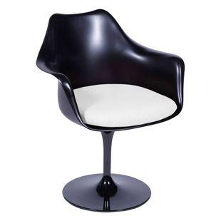 Cadeira-Saarinen-Com-Braco-Preta-E-Com-Almofada-Branca
