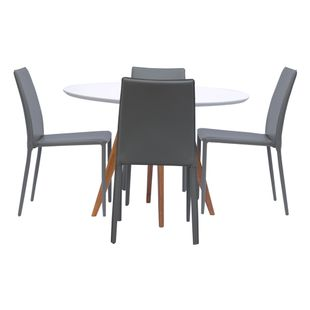 Mesa-de-Jantar-Square-Redonda-Branco-Fosco-90cm---4-Cadeiras-Noga-Fendi
