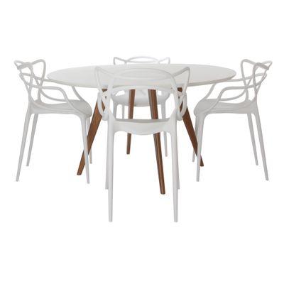 Mesa-de-Jantar-Square-Redonda-Branco-Fosco-90cm---4-Cadeiras-Allegra-Branca