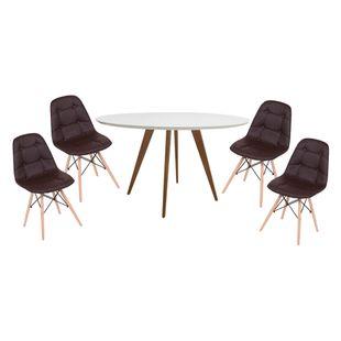 Conjunto-Mesa-Square-Redonda-Tampo-Branco-Fosco-88---4-Cadeiras-Eiffel-Botone-Marrom