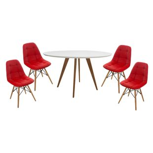 Conjunto-Mesa-Square-Redonda-Tampo-Branco-Fosco-108cm-com-4-Cadeiras-Eiffel-Botone-Vermelha
