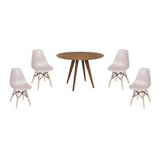 Conjunto-Mesa-Square-Redonda-Tampo-Louro-Freijo-88cm-com-4-Cadeiras-Eiffel-Fendi-com-Base-Madeira
