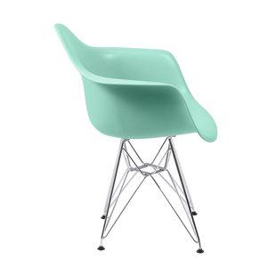 Cadeira Eiffel Com Braço Verde Tifanny Base Cromada