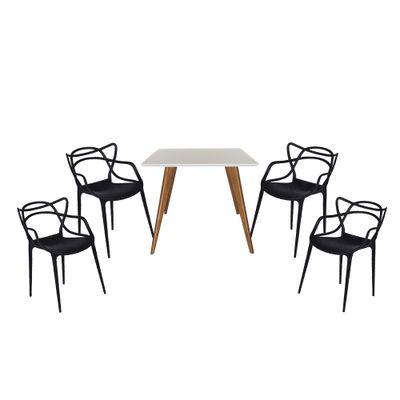Conjunto-Mesa-Square-Quadrada-Tampo-Branco-Fosco-90x90-com-4-Cadeiras-Allegra-Preta