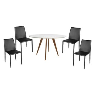 Conjunto-Mesa-Square-Redonda-Tampo-Branco-Fosco-88cm-com-4-Cadeiras-Noga-Preto