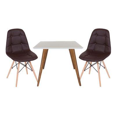 Conjunto-Mesa-Square-Quadrada-Tampo-Branco-Fosco-90x90-com--2-Cadeiras-Eiffel-Botone-Marrom