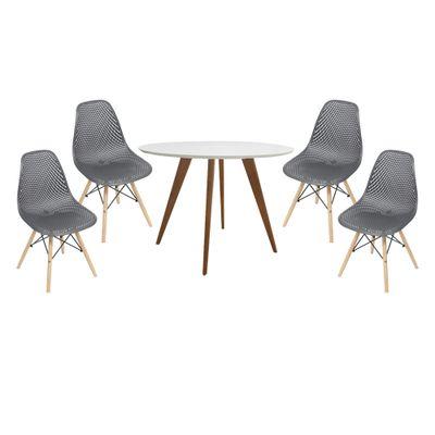 conjunto-mesa-square-redonda-tampo-branco-fosco-88cm-com-4-cadeiras-eames-colmeia-preta-com-base-madeira