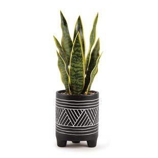 Cachepot-em-Ceramica--38-cm--–-Preto-com-Tribal-Branco