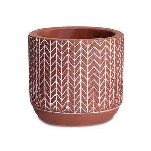 Cachepot-Tribal-em-Cimento--9-cm--–-Vermelho
