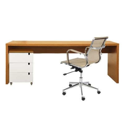 kit-escritorio-bancada-136cm-modulo-gavetas-louro-freijo-poltrona-noruega-cobre-baixa