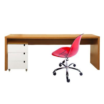 kit-escritorio-bancada-180cm-modulo-gavetas-louro-freijo-cadeira-eiffel-vermelho-transparente