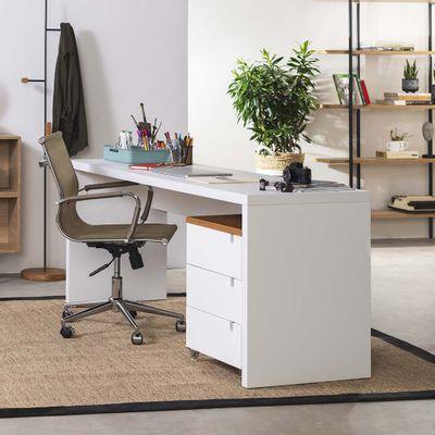 kit-escritorio-bancada-136cm-modulo-gavetas-louro-freijo-poltrona-noruga-cobre-ambiente